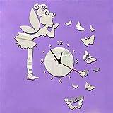 Wawoo Removeable 3D DIY Angel Fairy Butterfly Wall Clock, 3D Mirror Effect Quartz Clock Wall Decals Wall Sticker Wall Clock for Kids Girls Bedroom Living Room Nursery Classroom Decorations