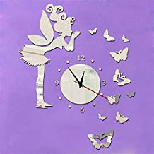 Wawoo Removeable 3D DIY Angel Fairy Butterfly Wall Clock, 3D Mirror Effect Quartz Clock Wall Decals Wall Sticker Wall Clock for Kids Girls Bedroom Living Room Nursery Classroom Decorations