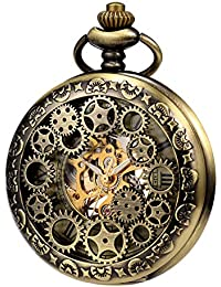 TREEWETO Mens Womens Mechanical Skeleton Pocket Watch Bronze Gear Hollow Case Steampunk Fob Watches with Chain Box
