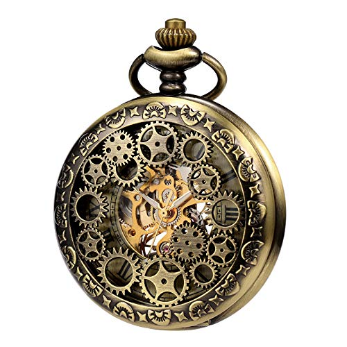 TREEWETO Mens Womens Mechanical Skeleton Pocket Watch Bronze Gear Hollow Case Steampunk Fob Watches with Chain - Bronze Men Watches