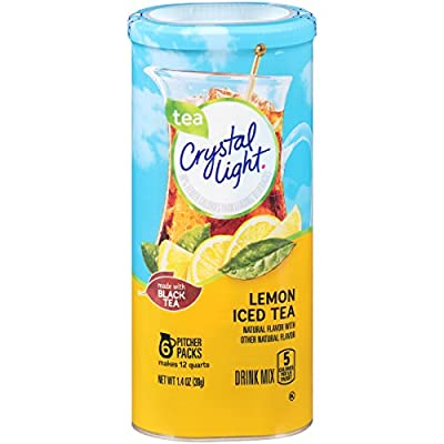 Crystal Light Drink Mix, Lemon Iced Tea, Pitcher Packets, 6 Count (Pack of 12 Canisters)