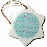 3dRose Uta Naumann Faux Glitter Pattern - Luxury Trendy Blue and Purple Moroccan Arabic Quatrefoil Tile Pattern - 3 inch Snowflake Porcelain Ornament (orn_268955_1)