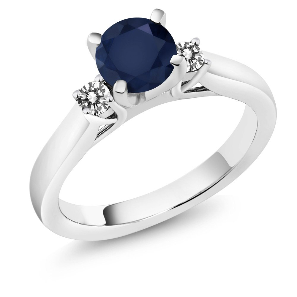 1.20 Ct Round Blue Sapphire White Diamond 925 Sterling Silver 3-Stone Ring