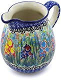 Polish Pottery 16 oz Pitcher made by Ceramika Artystyczna (Spring Iris Theme) Signature UNIKAT + Certificate of Authenticity