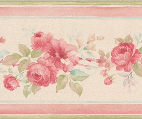 3.5' Rose (Hot Pink Roses Beige Floral Wallpaper Border Retro Design, Roll 15' x 3.5'')