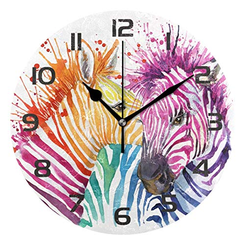 Dozili Colorful Animal Zebra Decorative Wooden Round Wall Clock Arabic Numerals Design Non Ticking Wall Clock Large for Bedrooms, Living Room, Bathroom