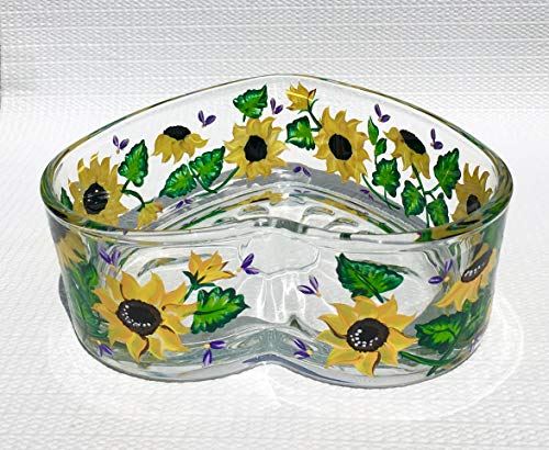 (Heart Bowl Candy Dish With Hand Painted Sunflowers)