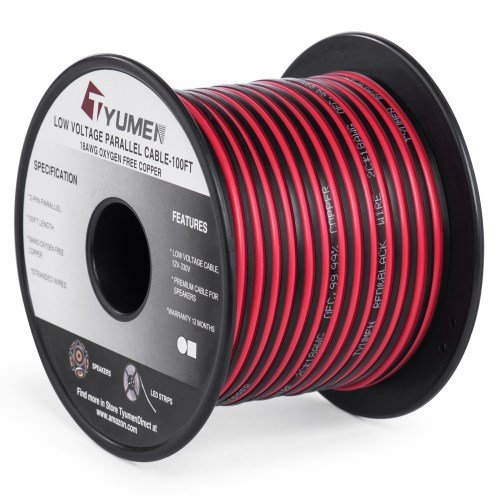 (TYUMEN 100FT 18 AWG Gauge 2 Conductor Stranded Red Black Car Home Stereo Speaker Audio Cable Electrical Hookup Wire - 99.95% Oxygen Free Copper Wires)