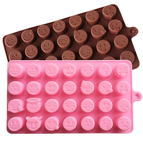 2-PACK 28 Cavity Emoji Emotion Molds Smilie Chocolate Candy Baking Mould Chocolate and Pink, 2 Pack