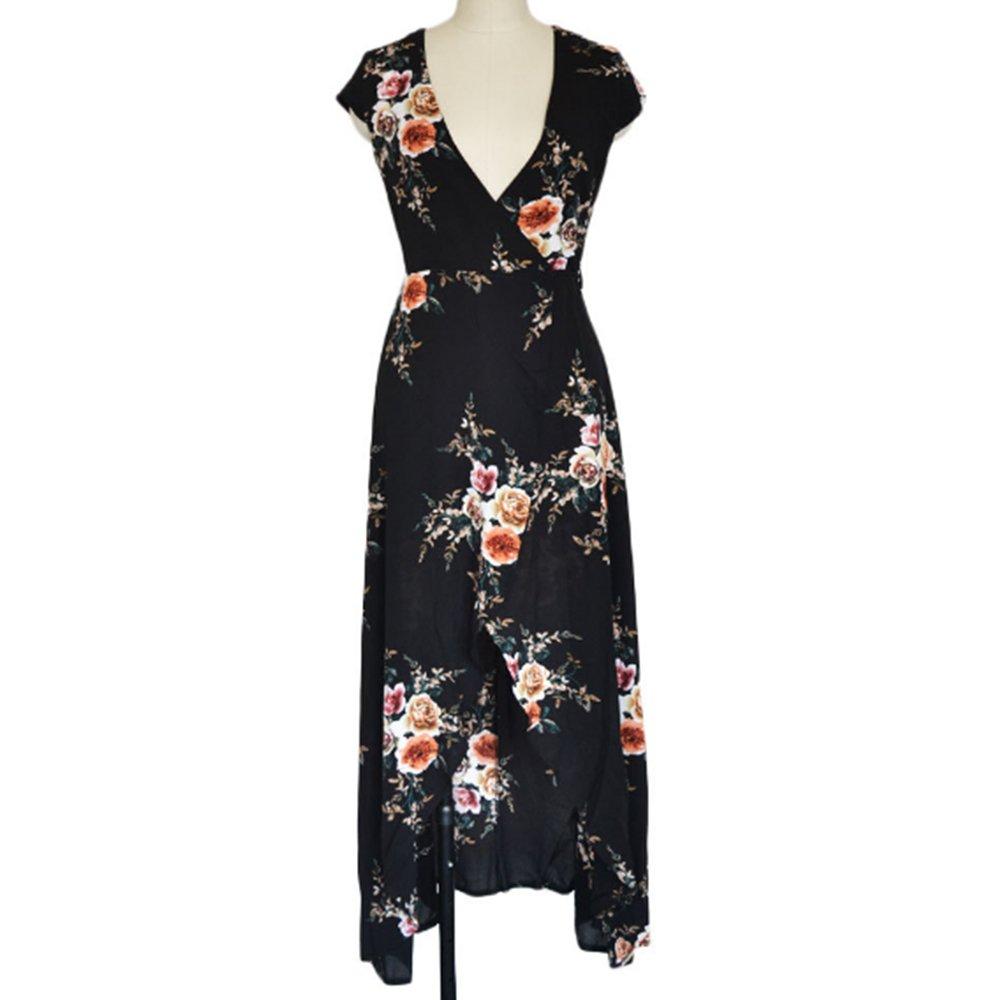 Isuper Vestido de Playa,Vestido Largo,Vestido de Baño de Verano Diseño de V-Collar y Flores Traje de Baño Bikini Cover up Camisolas y Pareos para Mujer(Negro Ligero)