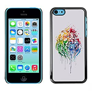 LASTONE PHONE CASE / Slim Protector Hard Shell Cover Case for Apple Iphone 5C / Watercolor Neon Portrait Lion Africa Big Cat
