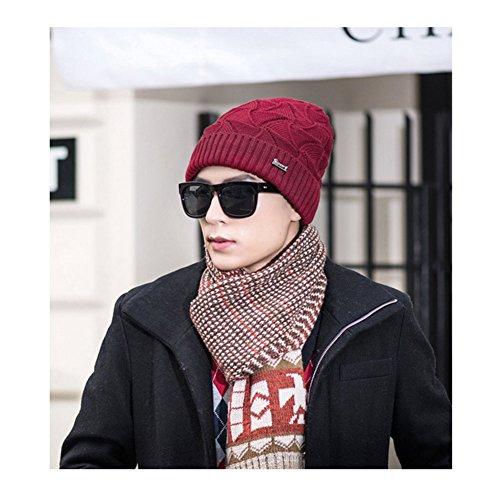 rojo Beanie Sombrero Tejida oscuro Gorra de Gruesa de Invierno Cálido Hombres Tejer Moda fPOw0O
