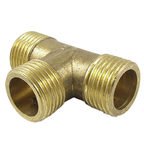 uxcell Brass T Shape Water Fuel Pipe Equal Male Tee Adapter Connector 1/2