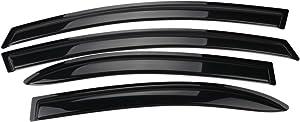 Window Visor Compatible With 2006-2011 Honda Civic 4Dr | Slim Style Acrylic Smoke Tinted Sun Rain Wind Guards Shield Vent Wind Deflector by IKON MOTORSPORTS | 2007 2008 2009 2010