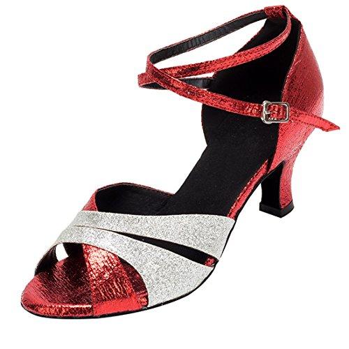 Miyoopark MiyooparkUK-HW180509 - De Salón de Material Sintético Mujer Red/Silver-6cm Heel