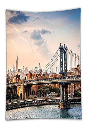 Beshowereb Fleece Throw Blanket Decor Manhattan Bridge and the New York Skyline at Sunset East River Highrise BuildingIconic Sitefor Bedroom Living Room Dorm - East Men Hot Indian