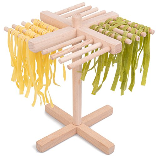 CucinaPro Pasta Drying Rack Crafted from All Natural Wood- Folds Flat for Easy Storage