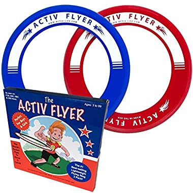 Best Kids Frisbee Rings [2 Pack] Fly Straight & Don't Hurt! Boys & Girls Love Fun Toys for Birthday Gifts and Christmas Presents - Play Cool Outdoor Games at Beach Pool School Yard Park Backyard & Ultimate Family BBQ - Flying Discs Made in USA