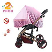 [2 Pack] Baby Mosquito Nets for Strollers, Carriers, Car Seats, Cradles, Fits Most PacknPlays, Cribs, Bassinets & Playpens, Soft Durable Insect Shield Netting, Babies Fly Screen Protection (Pink)