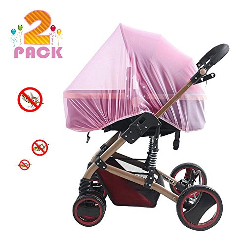 Playpen Net - [2 Pack] Baby Mosquito Nets for Strollers, Carriers, Car Seats, Cradles, Fits Most PacknPlays, Cribs, Bassinets & Playpens, Soft Durable Insect Shield Netting, Babies Fly Screen Protection (Pink)