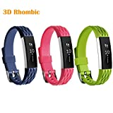 HWHMH Colorful Silicone Replacement Secure Band with Chrome Watch Clasp and Fastener Buckle for Fitbit Alta Only - Fix the Tracker Fall Off Problem (3PCS: Lime&Rose&Navy)