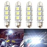 GrandviewTM Super Bright White LED 44mm 5050-12-SMD 12V Festoon Bulbs Car Interior Dome/ Map/ Door light 211-2 212-2 569 578 (pack of 4)