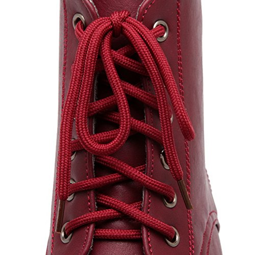 AgooLar Women's Low Top Solid Lace up Round Closed Toe Low Heels Boots Claret nSFpe