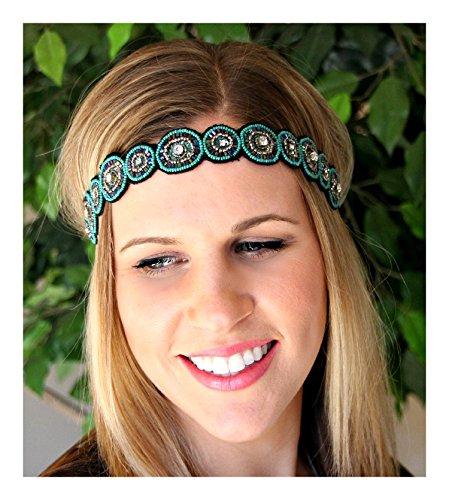 Regalia Beaded Rhinestone Elastic Stretch No Slip Headband (Hair Jewelry) - Sasha