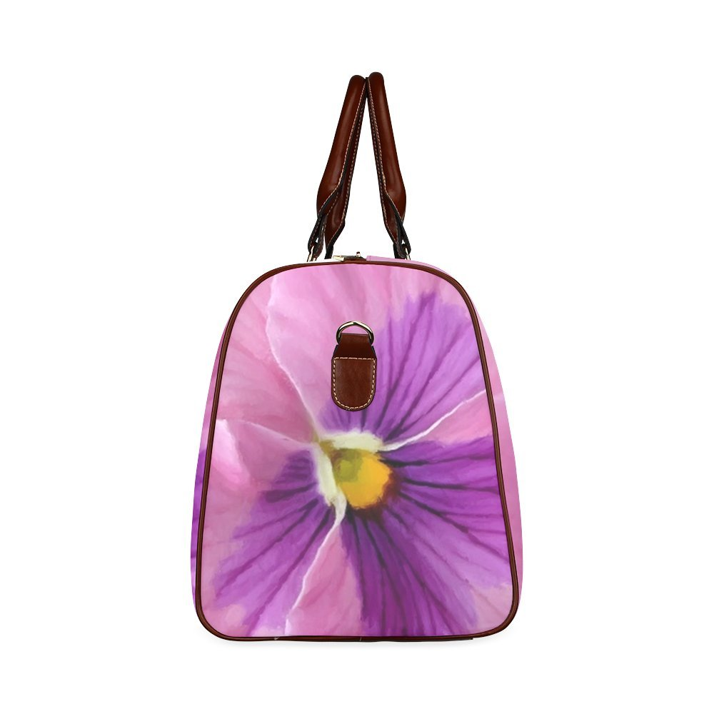 Pink And Purple Pansy Custom Waterproof Travel Tote Bag Duffel Bag Crossbody Luggage handbag