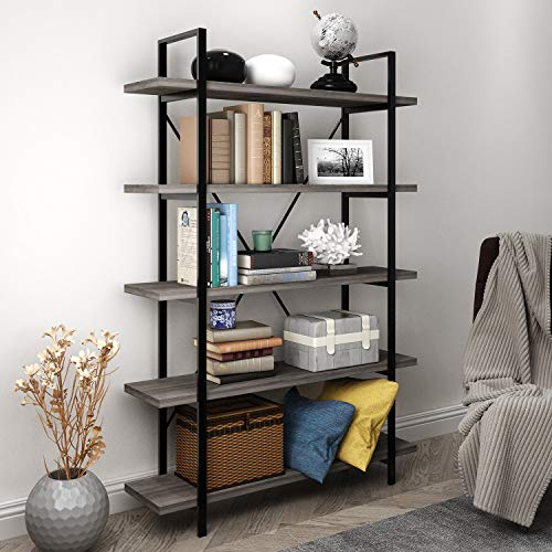 45MinST 5-Tier Vintage Industrial Style Bookcase/Metal and Wood Bookshelf Furniture for Collection,Gray Oak 3/4/5 Tier (5-Tier)