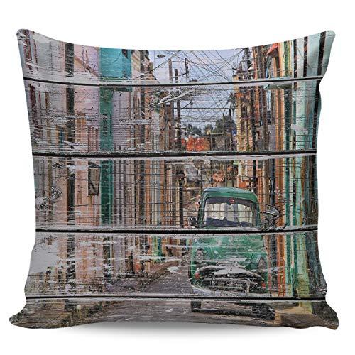 Square Decorative Throw Cushion Cover Pillowcase with Hidden Zipper for Sofa Car Couch Living Room Wood Grain Town Road Car 18