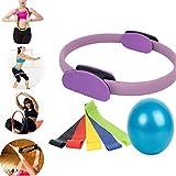 Pilates Ring - Premium Power Resistance Full Body Toning Fitness Circle + Resistance Loop Bands + Yoga Ball
