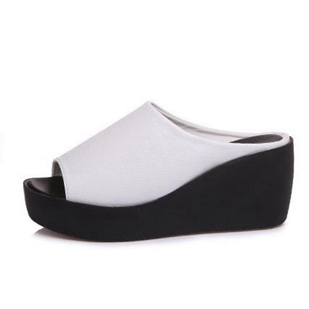 T-JULY Women's Beach Slippers Thick Bottom Anti-Skid Sandal Wedge High Heel Slide Sandals White