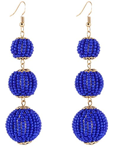 VK Accessories Thread Ball Dangle Earrings Thread Dangle Earrings Soriee Drop Earrings (bead ball blue)