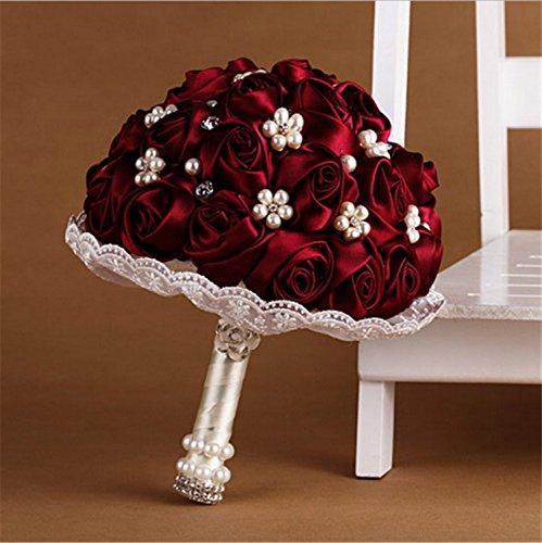 Romantic Love of Passion Burgundy Silk Rose Wedding Flowers Wedding Bouquet Bridal Bouquets Crystal Brooch
