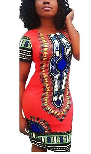 Jaycargogo Femmes Robe Impression Africaine Robes De Soirée Robe Traditionnelle Toge Rouge
