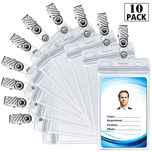 ID Badge Holder with Metal Badge Clips - Waterproof Sealable Clear Plastic Vertical ID Card Holder for Work ID, Key Card, Driver's License (Vertical 10 Pack)