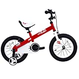 RoyalBaby CubeTube Kid's bikes, unisex children's bikes with training wheels, various trendy features, gifts for fashionable boys & girls, Red Honey, 12 inch
