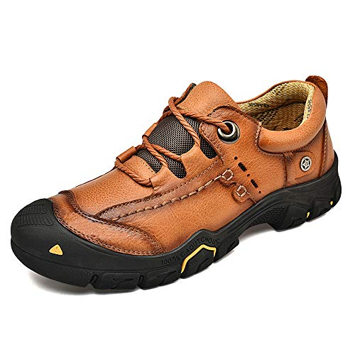 CEMao Men's Outdoor Walking Leather Hiking Shoes Sports Casual Dress Work Breathable Trekking Sneakers Brown 10.5 M US 45