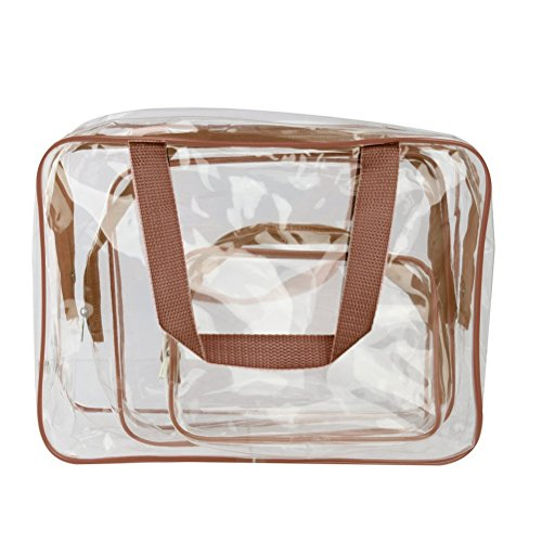 Pixnor 3-in1-Kulturbeutel Veranstalter Handtaschen klar wasserdicht PVC Transparent Tote Kosmetiktaschen Make-up Taschen (Brown)