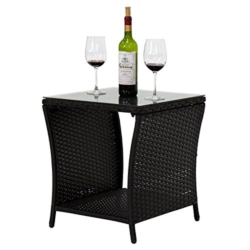 Peach Tree Indoor Outdoor Square Patio Rattan Wicker Side Tea Table w/Glass, Black - Outdoor Rattan End Table