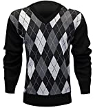 Enimay Mens Argyle V-Neck Golf Long Sleeve Sweater Black Grey Small