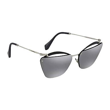 f2c46fd771a1c Amazon.com  Miu Miu Women s Cut Frame Mirrored Sunglasses