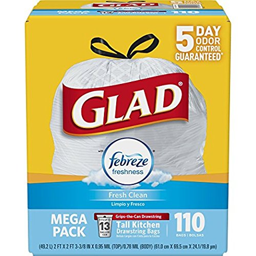 Glad OdorShield Tall Kitchen Drawstring Trash Bags - Febreze Fresh Clean - 13 Gallon - 110 Count (2 Pack(110 Count))