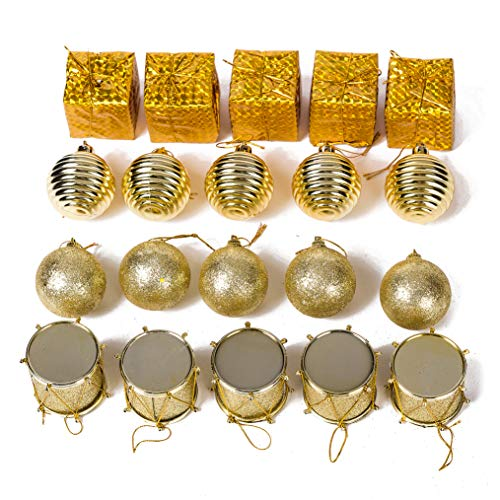 (Xena 20 Piece Elegant Modern Gold Assortment Christmas Ball Ornament Present Drum Classic Winter Theme Gift Box Set, 2 x 2 Inches DIY Holiday Present Party Favors Supplies)