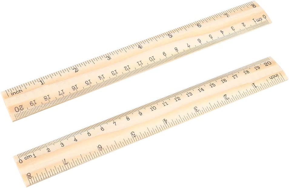 uxcell Wood Ruler 20cm 8 Inch Double Scale Measuring Tool for Office 5pcs