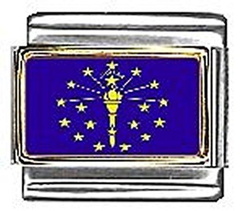 State of Indiana Photo Flag Italian Charm Bracelet Jewelry Link