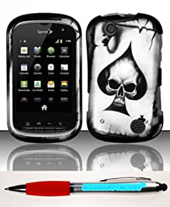 Accessory Factory(TM) Bundle (the item, 2in1 Stylus Point Pen) Kyocera Milano (Boost) Rubberized Design Case Cover Protector - Spade Skull