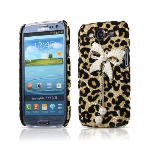 Leopard Pearl Beads Bow Back Skin Cover Case for Samsung Galaxy S3 III i9300 (Galaxy S3 Skins)
