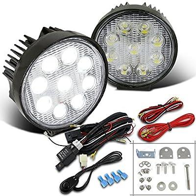 "4.5"" Round Super Bright White 9-LRD Offroad Work Light Fog Bumper Lamp+Switch"